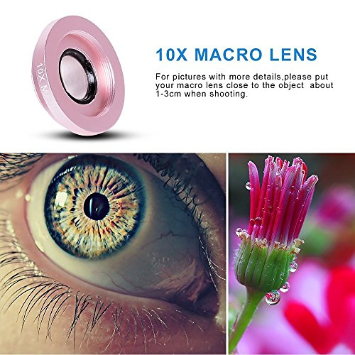 Aventus Apple iPhone 7 (Pink) Lenti Per Cellulare 3 in 1 Kit Fisheye + Obiettivo Grandangolo + Obiettivo Macro con Universale Clip-on 180 Gradi per i Dispositivi Android e iOS Rose