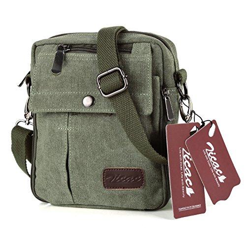 Zicac- Los nuevos bolsos de hombres de la vendimia de la lona multifunción Viajes Satchel / Mensajero bolso pequeño (verde)