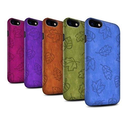 STUFF4 Matte Harten Stoßfest Hülle / Case für Apple iPhone 8 / Orange Muster / Blatt Muster/Textil Effekt Kollektion 7 Pack