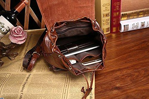 Otomoll Tasche Ledertasche Leder Lässige Mode Rucksack 8060 Brown