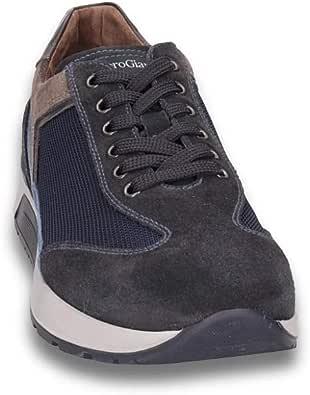 NeroGiardini - Sneaker in camoscio Oliva e Tessuto