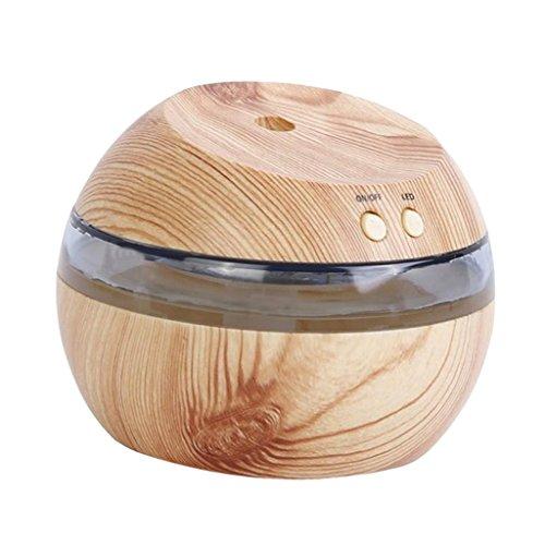 MagiDeal 300ml Humidificador Ultrasónico Aromaterapia Difusor Aroma Purificador de Aire Lámpara LED Diseño 3 en 1 con Cable de USB - Madera Natural