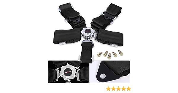 AJP Distributors Universal 3 Nylon Strap 5 Point Cam Lock Heavy Duty Latch Lock Harness Release Upgrade Racing Track Drift Black