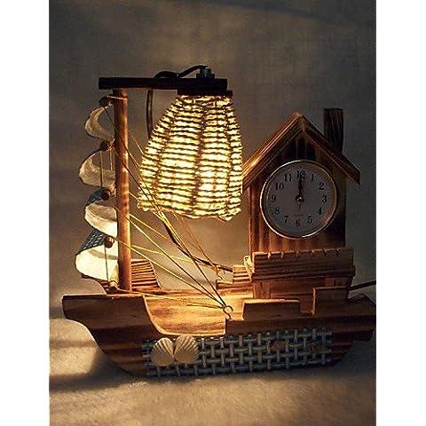 FDH Il giorno di San Valentino Creative articoli di arredamento doni boutique di artigianato in legno di barche a vela con orologio Lampada da scrivania a LED luce , 220v