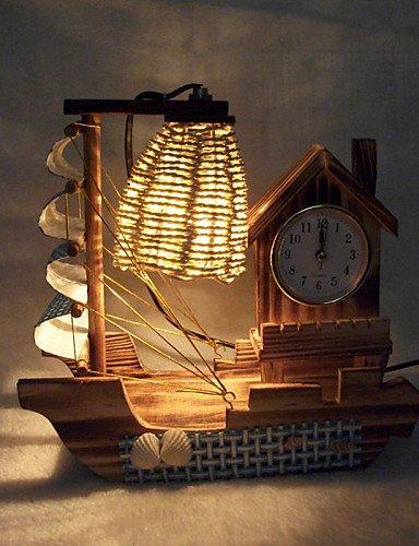 MZMZ regali di Natale illuminazione natalizia il giorno di San Valentino Creative articoli di arredamento doni boutique di artigianato in legno di barche a vela con orologio Lampada da scrivania a LED luce , 220v