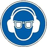 LEMAX® Gebotsschild Augen- und Gehörschutz benutzen, praxisbewährt, Kunststoff, Ø 200mm