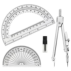 Tuloka Drafting Compass and 2PCS Protractors Student Geometry Math Drawing Set Tools, 3 Pieces