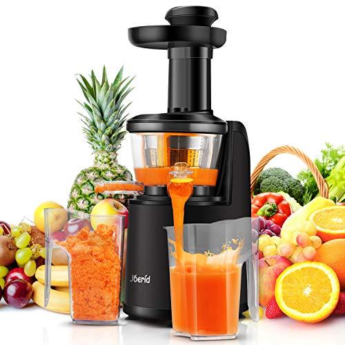 Joerid Entsafter Slow Juicer, Kaltpresse Entsafter für Obst und Gemüse mit Hochleistungsmotor und Umkehrfunktion, 60U/min Juicer Maschine mit Anti-Drip-Design,BPA frei