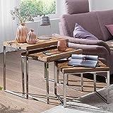 Pharao24 Sofatisch Set aus Recyclingholz und verchromtem Stahl Loft Style