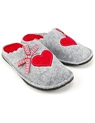 CANADIANS Kinder Winter Hausschuhe, Slipper, Herz-Motiv, 3 Farben: rot, braun oder grau