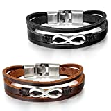JewelryWe Schmuck Herren Damen Armband, Geflochten Anker Armreif, Leder Legierung, Schwarz Silber - 5