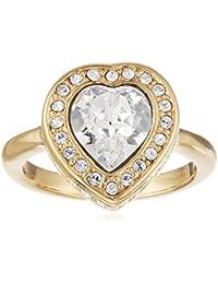 Guess Damen-Ring Herz Messing Glas weiß - UBR28508