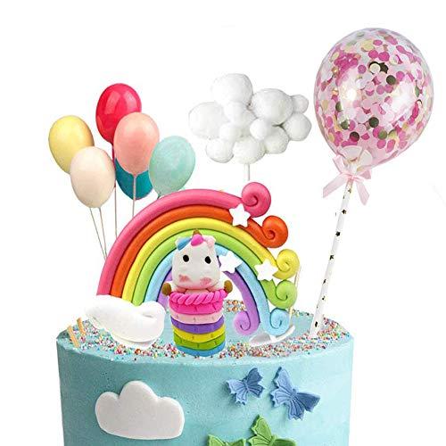 Decoración para tarta con diseño de unicornio y estrellas de arcoíris para decoración de cupcakes, oblea de pie para cumpleaños, bodas, fiestas de bienvenida de bebé, paquete de 10