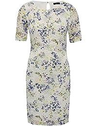 M&Co Ladies Petite Ivory Crochet Sheer Lace Short Sleeve Floral Print Shift Dress