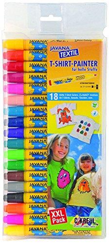 Kreul 90721 - Javana Texi Mäx Sunny Stoffmalstifte für helle Stoffe, mit unempfindlicher Rundspitze ca. 2 - 4 mm, 18 Stifte in verschiedenen Farben
