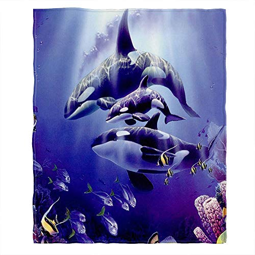 Moslion Weiche, gemütliche Überwurfdecke Orca Killerwale Deep Sea Fuzzy Warm Couch/Bett Decke für Erwachsene/Kinder Polyester (Zuhause/Reisen/Camping anwendbar), Polyester, Type772, 40 x 50 Inch -