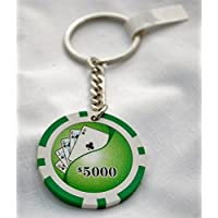Royal Flush, Clubs Las Vegas $5000 Green Casino Poker Chip Keyring