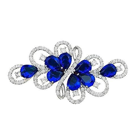 QUKE Silver Tone Swarovski Element Crystal Dark Blue Ribbon Bouquet Cubic Zirconia Bridal Brooch
