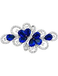 quke plata tono claro austríaco Swarovski Element cristal azul cinta ramo, Circonita, broche