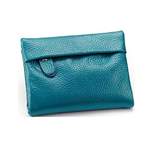 Jch-lug wallet portafoglio da donna in pelle moda con cerniera mini multifunzione porta foto da parete in pelle morbida porta carte di credito da uomo 11x9.5cm blu mare