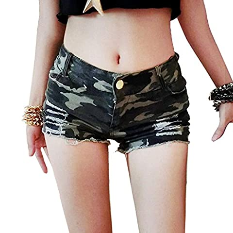 Byjia Frauen Denim Zerrissenen Jeans Mini Short Hot Pants Womens Nightclub Clubwear Camouflage Cut Off Low Taille Shorts . Picture Color . S
