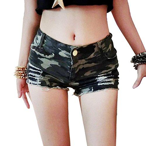 Byjia Frauen Denim Zerrissenen Jeans Mini Short Hot Pants Womens Nightclub Clubwear Camouflage Cut Off Low Taille Shorts . Picture Color . S (High Cut Schwimmen Kostüme)