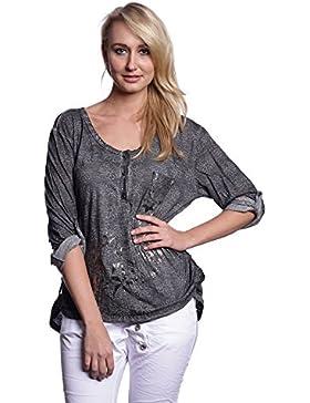 Abbino 12779 Camisas Blusas Tops para Mujer - Hecho en ITALIA - 5 Colores - Entretiempo Primavera Verano Otoño...