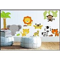 Safari Lion Elephant Zebra Tiger Stickers Kids Children Room Wall Stickers Decal Wall Art 924