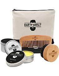 """Bartpflege Set""""GLATTMACHER"""" von BARTFORMAT (4-Teilig) - Runde Bartbürste (Wildschweinborsten) + Bart Balsam (60ml) + Bartkamm (Birnbaumholz) - Das Bartpflege Geschenk-Set für Männer"""