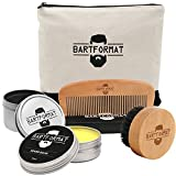 Bartpflege Set'GLATTMACHER' von BARTFORMAT (4-Teilig) - Runde Bartbürste (Wildschweinborsten) + Bart Balsam (60ml) + Bartkamm (Birnbaumholz) - Das Bartpflege Geschenk-Set für Männer