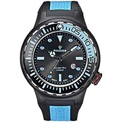 Poseidon Herren-Armbanduhr XL SCUBA PRO Analog Quarz Kautschuk K2081243043-00396
