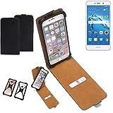 K-S-Trade Flipstyle Hülle für Huawei Y7 Dual SIM Handyhülle Schutzhülle Tasche Handytasche Case Schutz Hülle + integrierter Bumper Kameraschutz, schwarz (1x)