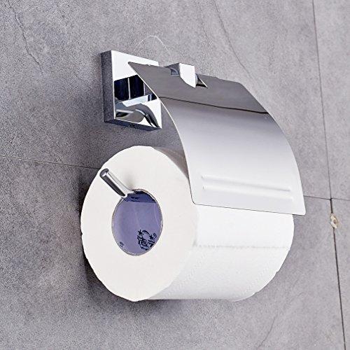 Auralum - Portarotolo per carta igienica, con coperchio in acciaio