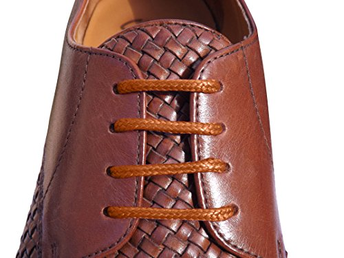 Brown Shoelaces 2.5mm wide & 70cm Long Thin Cotton Waxed Shoe laces For Mens Shoes, Leather Oxford Brogues, Dress Shoes, Smart Shoes