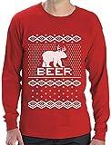 Green Turtle T-Shirts Bear + Deer = Beer - Witziger Weihnachtspulli Langarm T-Shirt Large Rot