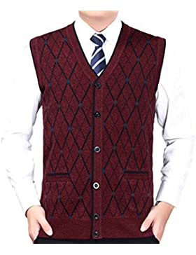 Zhhlinyuan alta calidad Mens Men's Father Business Winter Button Down Rhombus Pattern Sleeveless Pullover Knitted...