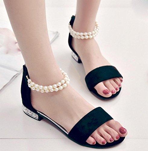 fermoir perle talons bas sandales à bout ouvert mot après sac à fermeture éclair avec des sandales plates sandales femmes Black