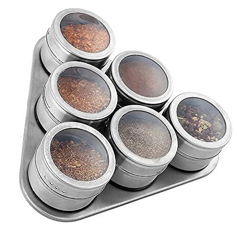 Edelstahl 6-teiliges Magnet-Set Spice Rack/transparenten Deckel/Space Saver