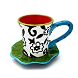 Espressotasse mit Untersetzer im Blumenmuster | 2-teiliges Porzellan-Geschirr | Handbemalt | Bunte Geschenkidee Geschenk-Idee| Weiß Rot Grün