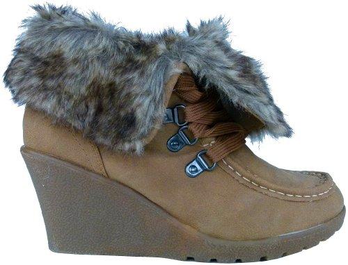 Keilabsatz Wedges Damen Stiefeletten warm gefüttert Schneestiefel Winterstiefel Schnee Winter Boots Schneeboots Camel