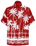 LA LEELA männer Hawaiihemd Kurzarm Button Down Kragen Fronttasche Beach Strand Hemd Manner Urlaub Casual Herren Aloha rot_244 L Likre A_116