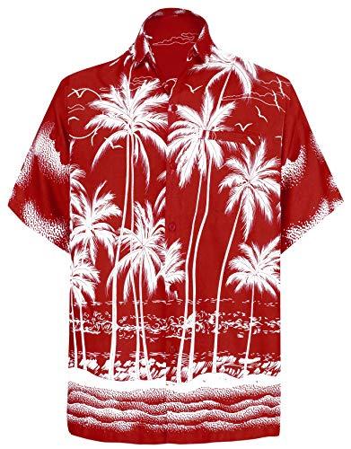 Übergröße Kostüm Urlaub - LA LEELA männer Hawaiihemd Kurzarm Button Down Kragen Fronttasche Beach Strand Hemd Manner Urlaub Casual Herren Aloha Rot_244 L Likre A_116