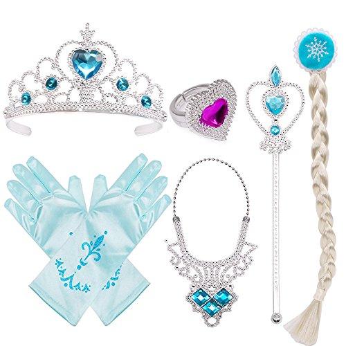 Eisprinzessin Set Aus Diadem, Anzieh Kostüm Zubehör Set 6 Stück Geschenkset für Prinzessin Cosplay Handschuhe Tiara Zauberstab und Halskette (Blau)