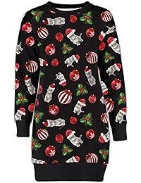 61904a30f150ba Damen Damen Weihnachten Rentier Wand Ho Ho Santa Schneemann Weihnachten  Pullover Kleid…