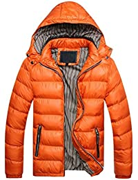 LUOEM Men's Winter Thicken Cotton Coat Casual Warm Jacket Outwear with Removable Hood - Size L(Orange)