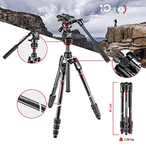 Video-kopf (Manfrotto Befree Live Carbon Reisestativ Twist (Drehverschluss) mit Fluid-Video Kopf inkl. Tasche (Traglast: 4kg, Packmaß: 41cm, Gewicht: 1,38kg))