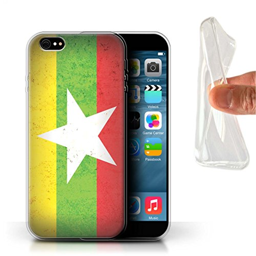 Coque Gel TPU de STUFF4 / Coque pour Apple iPhone 6S / Azerbaïdjan Design / Drapeau Asie Collection Myanmar/Birmane