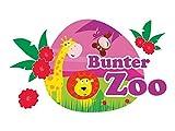 GRAZDesign 721592_57 Wandsticker Sticker Wandaufkleber für Kinderzimmer Spruch Bunter Zoo Tiere (97x57cm)