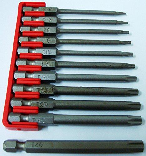 Preisvergleich Produktbild New Lang Tamper Torx und Loch 11-teiliges Bits Set t6-t40, Länge–7,6cm 75mm–Deutschland
