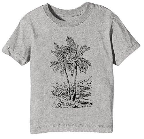 Palme Bäume Kinder Unisex Jungen Mädchen T-Shirt Rundhals Grau Kurzarm Größe XL Kids Boys Girls Grey X-Large Size XL